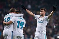 Real Madrid Marcos Llorente, Achraf Hakimi and Borja Mayoral during return match of King's Cup between Real Madrid and Fuenlabrada at Santiago Burnabeu Stadium in Madrid, Spain. November 28, 2017.  *** Local Caption *** © pixathlon +++ tel. +49 - (040) - 22 63 02 60 - mail: info@pixathlon.de