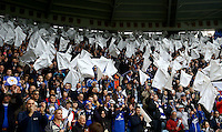 Leicester City fans wave white flags during the Barclays Premier League match between Leicester City and Swansea City played at The King Power Stadium, Leicester on 24th April 2016