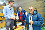 GER - Luebeck, Germany, February 06: After the 1. Bundesliga Damen indoor hockey semi final match at the Final 4 between Rot-Weiss Koeln (white) and Mannheimer HC (blue) on February 6, 2016 at Hansehalle Luebeck in Luebeck, Germany. Final score 1-2 (HT 0-2).  (Photo by Dirk Markgraf / www.265-images.com) *** Local caption *** (L-R) Jan Fischer (DHB), Joachim Kille, Wolfgang Sauer