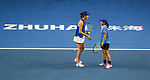 Jing Xinyu Jiang (R)  and Qianhui Tang (L) of China talk during the doubles Round Robin match of the WTA Elite Trophy Zhuhai 2017 against Jing-Jing Lu and Shuai Zhang of China at Hengqin Tennis Center on November  04, 2017 in Zhuhai, China. Photo by Yu Chun Christopher Wong / Power Sport Images