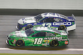#18: Kyle Busch, Joe Gibbs Racing, Toyota Camry Interstate Batteries, #13: Ty Dillon, Germain Racing, Chevrolet Camaro GEICO