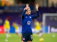 ORLANDO, FL - FEBRUARY 24: Megan Rapinoe #15 of the USWNT waves to the crowd before a game between Argentina and USWNT at Exploria Stadium on February 24, 2021 in Orlando, Florida.
