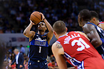 Dennis Smith Jr of Dallas Mavericks (L) in action during the NBA China Games 2018 match between Dallas Mavericks and Philadelphia 76ers at Universiade Center on October 08 2018 in Shenzhen, China. Photo by Marcio Rodrigo Machado / Power Sport Images