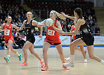 Wales Chelsea Lewis in action during todays match   <br /> <br /> Swansea University International Netball Test Series: Wales v New Zealand<br /> Ice Arena Wales<br /> 08.02.17<br /> ©Ian Cook - Sportingwales