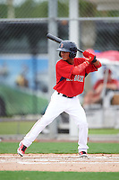 GCL Red Sox second baseman Yomar Valentin (18) at bat during the second game of a doubleheader against the GCL Rays on August 9, 2016 at JetBlue Park in Fort Myers, Florida.  GCL Rays defeated GCL Red Sox 9-1.  (Mike Janes/Four Seam Images)