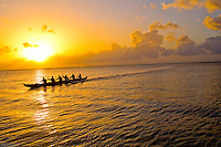 Outrigger canoe paddling near Haleiwa, North Shore of Oahu