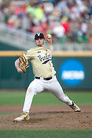 Vanderbilt Commodores pitcher Jake Eder (39) delivers a pitch to the plate during Game 12 of the NCAA College World Series against the Louisville Cardinals on June 21, 2019 at TD Ameritrade Park in Omaha, Nebraska. Vanderbilt defeated Louisville 3-2. (Andrew Woolley/Four Seam Images)