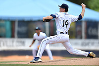 Asheville Tourists starting pitcher Ryan Feltner (14) delivers a pitch during a game against the Columbia Fireflies at McCormick Field on June 23, 2019 in Asheville, North Carolina. The Fireflies defeated the Tourists 11-9. (Tony Farlow/Four Seam Images)