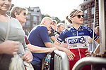 Charlotte Bravard (FRA) FDJ Nouvelle-Aquitaine Futuroscope at the Team presentation of La Fleche Wallonne Femmes 2018 running 118.5km from Huy to Huy, Belgium. 17/04/2018.<br /> Picture: ASO/Thomas Maheux | Cyclefile.<br /> <br /> All photos usage must carry mandatory copyright credit (© Cyclefile | ASO/Thomas Maheux)