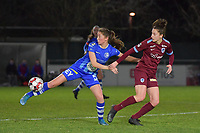 Fran Meersman (5) of AA Gent and Gwen Duijsters (22) of KRC Genk pictured during a female soccer game between  AA Gent Ladies and Racing Genk on the 12 th matchday of the 2020 - 2021 season of Belgian Scooore Womens Super League , friday 29 th of January 2021  in Oostakker , Belgium . PHOTO SPORTPIX.BE | SPP | DIRK VUYLSTEKE