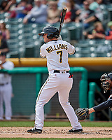 Matt Williams (7) of the Salt Lake Bees at bat against the El Paso Chihuahuas in Pacific Coast League action at Smith's Ballpark on April 30, 2017 in Salt Lake City, Utah. El Paso defeated Salt Lake 3-0. This was Game 1 of a double-header.  (Stephen Smith/Four Seam Images)