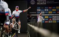 wheelie salute by Peter Sagan (SVK/BORA - hansgrohe) at the race start in Antwerpen<br /> <br /> Elite Men World Championships - Road Race<br /> from Antwerp to Leuven (268.3km)<br /> <br /> UCI Road World Championships - Flanders Belgium 2021<br /> <br /> ©kramon