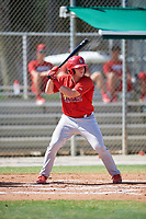 GCL Cardinals catcher Brandon Purcell (4) at bat during a game against the GCL Nationals on August 5, 2018 at Roger Dean Chevrolet Stadium in Jupiter, Florida.  GCL Cardinals defeated GCL Nationals 17-7.  (Mike Janes/Four Seam Images)