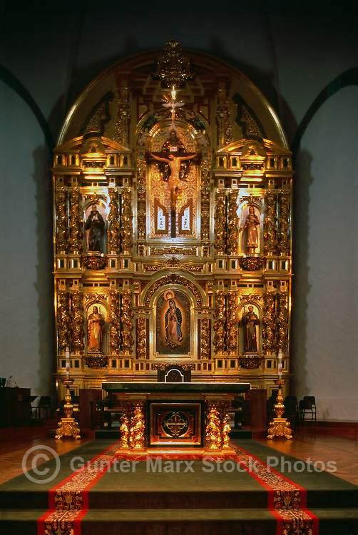 Mission Basilica San Juan Capistrano, California, USA - the Grand Retablo (aka Reredos) and Altar in the Sanctuary