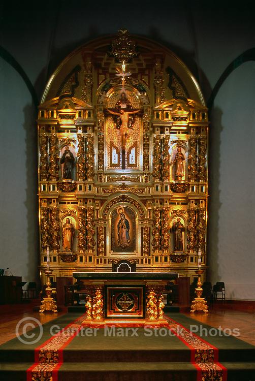 Mission Basilica San Juan Capistrano, California, USA - the Grand Retablo (aka Reredos) and Altar in the Sanctuary