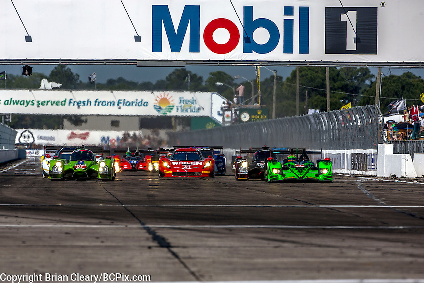 Start of the 12 Hours of Sebring, Sebring International Raceway, Sebring, FL, March 2015.  (Photo by Brian Cleary/ www.bcpix.com )