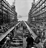 Bethlehem-Fairfield shipyards, Baltimore, Maryland. The stem of a vessel just after the launching ceremony. May 1943.<br /> <br /> Arthur S. Siegel.