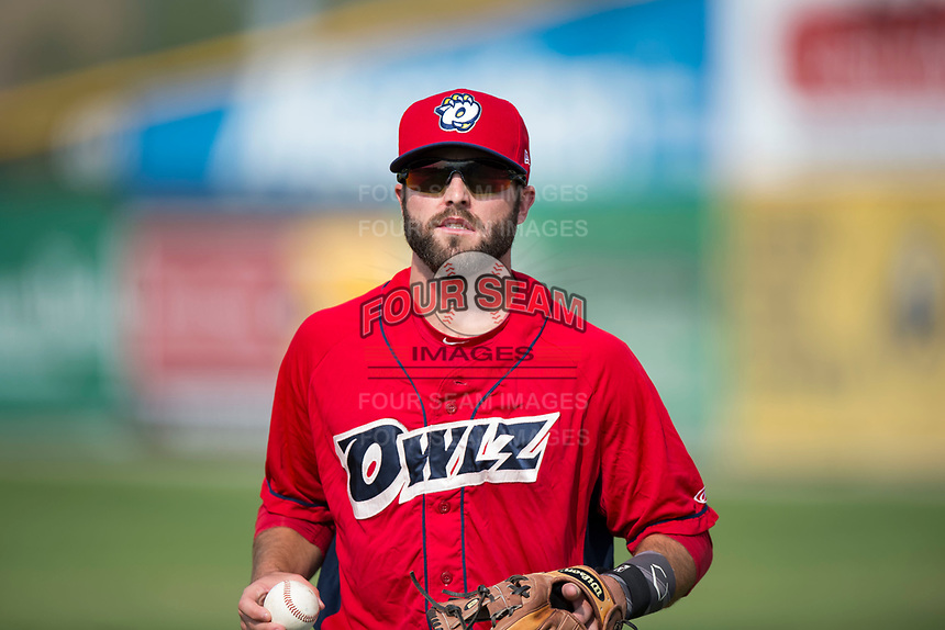 Orem Owlz infielder Michael Stefanic (31) before a Pioneer League game against the Missoula Osprey at Ogren Park Allegiance Field on August 19, 2018 in Missoula, Montana. The Missoula Osprey defeated the Orem Owlz by a score of 8-0. (Zachary Lucy/Four Seam Images)