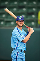 Andrew Shaps (14) of the Ogden Raptors before the game against the Orem Owlz at Lindquist Field on June 20, 2019 in Ogden, Utah. The Owlz defeated the Raptors 11-8. (Stephen Smith/Four Seam Images)