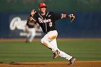 Second baseman Matt Wessinger #0 of the St. John's Red Storm tracks a ground ball against the Virginia Cavaliers in the championship game of the Charlottesville Regional at Davenport Field on June 5, 2010, in Charlottesville, Virginia.  The Cavaliers defeated the Red Storm 5-3.  Photo by Brian Westerholt / Four Seam Images