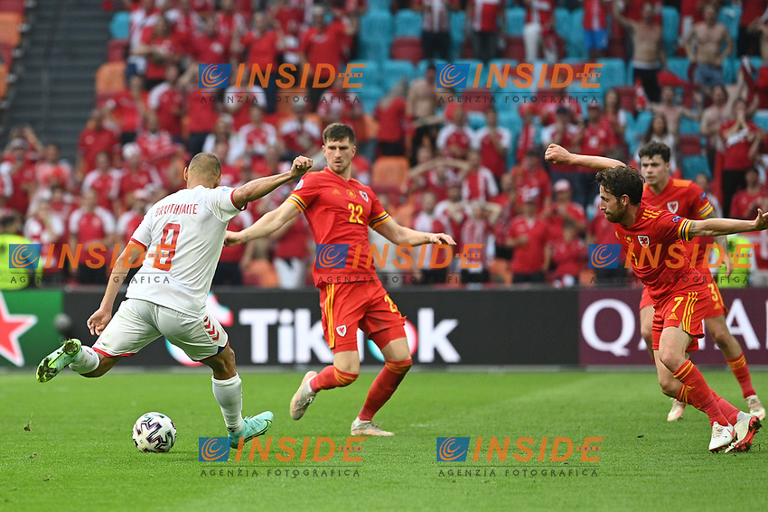 AMSTERDAM, NETHERLANDS - JUNE 26: Martin Braithwaite of Denmark scores their side's fourth goal during the UEFA Euro 2020 Championship Round of 16 match between Wales and Denmark at Johan Cruijff Arena on June 26, 2021 in Amsterdam, Netherlands. (Photo by Lukas Schulze - UEFA/UEFA via Getty Images)<br /> Photo Uefa/Insidefoto ITA ONLY