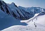 Alaska, Climbers, Matanuska Glacier, Chugach Mountains, National Outdoor Leadership School climbing team ascending the ice fall through crevasses and seracs to gain the Matanuska Ice Field, .