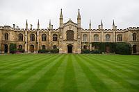 UK, England, Cambridge.  Corpus Cristi College Courtyard, Facing the Chapel Entrance.
