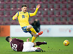 Hearts v St Johnstone…..14.12.19   Tynecastle   SPFL<br />Matty Kennedy is tackled by Craig Halkett<br />Picture by Graeme Hart.<br />Copyright Perthshire Picture Agency<br />Tel: 01738 623350  Mobile: 07990 594431