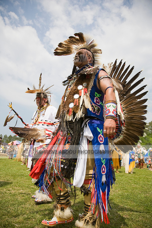 Keith Anderson (right) dances in full Native American regalia at the 8th Annual Red Wing PowWow in Red Wing Park, Virginia Beach, Virginia.
