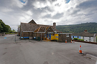 Pictured: The Godre'r Graig Primary School near Ystalyfera, Wales, UK. Friday 12 July 2019<br /> Re: A school has been forced to close suddenly after geological experts found a potential landslide risk at Godre'r Graig Primary School, near Pontardawe.<br /> Experts from th Earth Science Partnership, who were commissioned by Neath Port Talbot Council, found a medium level risk from a quarry spoil tip near the school, linked to springs and ground water nearby.  Experts said that if a stream was blocked during bad weather, rising water levels and pressures in the tip could cause material to flow downhill.<br /> An emergency meeting of senior council officers and members was held, who took the decision to close the school immediately, ahead of the summer holidays .<br /> Pupils at the school will be relocated to another site in September.