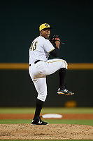 Bradenton Marauders relief pitcher Ronny Agustin (45) delivers a pitch during a game against the Tampa Tarpons on April 25, 2018 at LECOM Park in Bradenton, Florida.  Tampa defeated Bradenton 7-3.  (Mike Janes/Four Seam Images)