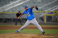 Myrtle Beach Pelicans pitcher Enrique De Los Rios (35) during a Carolina League game against the Potomac Nationals on August 14, 2019 at Northwest Federal Field at Pfitzner Stadium in Woodbridge, Virginia.  Potomac defeated Myrtle Beach 7-0.  (Mike Janes/Four Seam Images)