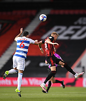 17th October 2020; Vitality Stadium, Bournemouth, Dorset, England; English Football League Championship Football, Bournemouth Athletic versus Queens Park Rangers; Sam Surridge of Bournemouth competes in the air with Yoann Barbet of Queens Park Rangers
