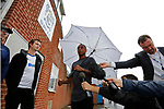 Bury FC Club Captain Neil Danns speaking to fans and media outside Gigg Lane. 28/08/2019. Gigg Lane, Bury. Photo by Paul Thompson.