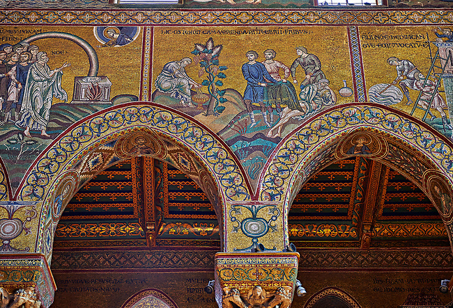North wall mosaics of the Norman-Byzantine medieval cathedral  of Monreale,  province of Palermo, Sicily, Italy.