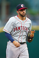 Pawtucket Red Sox shortstop Deven Marrero (29) jogs off the field between innings of the game against the Charlotte Knights at BB&T Ballpark on August 9, 2014 in Charlotte, North Carolina.  The Red Sox defeated the Knights  5-2.  (Brian Westerholt/Four Seam Images)