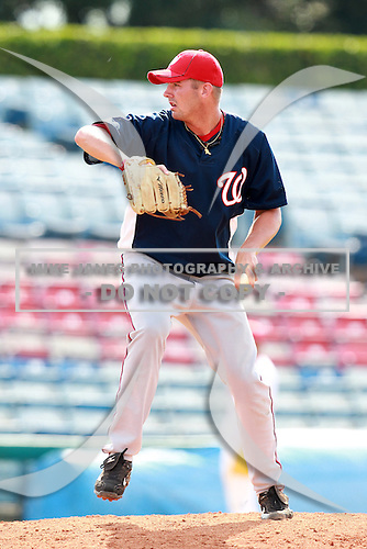 Washington Nationals minor league pitcher Chad Jenkins during a game vs. the Chinese National Team in an Instructional League game at Holman Stadium in Vero Beach, Florida September 30, 2010.   Photo By Mike Janes/Four Seam Images
