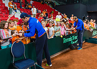 The Hague, The Netherlands, September 17, 2017,  Sportcampus , Davis Cup Netherlands - Chech Republic, Kids press-conference, Tallon Griekspoor and Thiemo de Bakker (NED) (R) signing autographs<br /> Photo: Tennisimages/Henk Koster