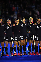 The Black Sticks sing the national anthem before the Sentinel Homes Trans Tasman Series hockey match between the New Zealand Black Sticks Women and the Australian Hockeyroos at Massey University Hockey Turf in Palmerston North, New Zealand on Tuesday, 1 June 2021. Photo: Dave Lintott / lintottphoto.co.nz