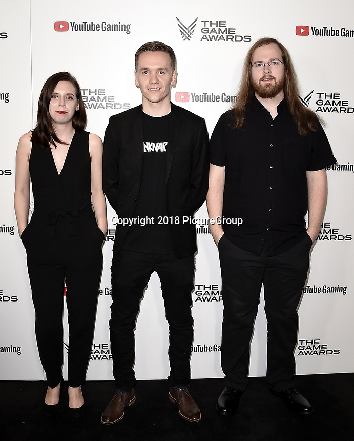 LOS ANGELES - DECEMBER 6: (L-R) Rebecca Bakkejord, Thomas Nilsen and Martin Lien attend the 2018 Game Awards at the Microsoft Theater on December 6, 2018 in Los Angeles, California. (Photo by Scott Kirkland/PictureGroup)