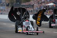 Feb. 19, 2012; Chandler, AZ, USA; NHRA top fuel dragster driver Doug Kalitta during the Arizona Nationals at Firebird International Raceway. Mandatory Credit: Mark J. Rebilas-