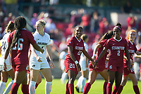 STANFORD, CA - October 21, 2018: Madison Haley, Catarina Macario, Naomi Girma, Beattie Goad at Laird Q. Cagan Stadium. No. 1 Stanford Cardinal defeated No. 15 Colorado Buffaloes 7-0 on Senior Day.