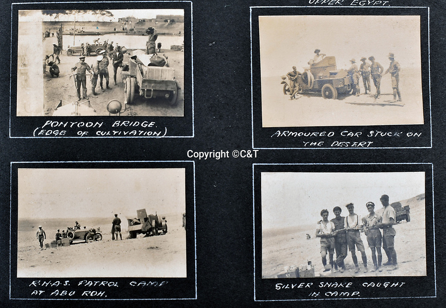 BNPS.co.uk (01202 558833)<br /> Pic: C&T/BNPS<br /> <br /> This page shows the RNAS now a long way from the sea in Upper Egypt.<br /> <br /> Never before seen photos of the disastrous Gallipoli campaign have come to light over a century later.<br /> <br /> The fascinating snaps were taken by Sub Lieutenant Gilbert Speight who served in the Royal Naval Air Service in World War One.<br /> <br /> They feature in his photo album which covers his eventful war, including a later stint in Egypt.<br /> <br /> There are dramatic photos of the Allies landing at X Beach, as well as sobering images of a mass funeral following the death of 17 Brits. Another harrowing image shows bodies lined up in a mass grave.<br /> <br /> The album, which also shows troops during rare moments of relaxation away from the heat of battle, has emerged for sale with C & T Auctions, of Ashford, Kent. It is expected to fetch £1,500.
