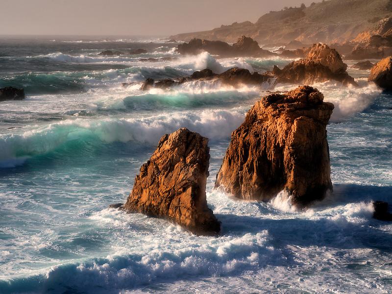 Waves, and shoreline at sunset. Garrapata State Park, California