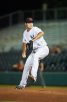 Scottsdale Scorpions pitcher J.P. Feyereisen (43), of the New York Yankees organization, during a game against the Glendale Desert Dogs on October 14, 2016 at Scottsdale Stadium in Scottsdale, Arizona.  Scottsdale defeated Glendale 8-7.  (Mike Janes/Four Seam Images)