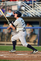 Staten Island Yankees first baseman Connor Spencer (56) at bat during a game against the Batavia Muckdogs on August 6, 2014 at Dwyer Stadium in Batavia, New York.  Batavia defeated Staten Island 5-3.  (Mike Janes/Four Seam Images)