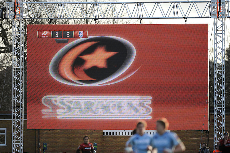 20130127 Copyright onEdition 2013©.Free for editorial use image, please credit: onEdition..General view of the scoreboard during the LV= Cup match between Saracens and Cardiff Blues at Allianz Park on Sunday 27th January 2013 (Photo by Rob Munro)..For press contacts contact: Sam Feasey at brandRapport on M: +44 (0)7717 757114 E: SFeasey@brand-rapport.com..If you require a higher resolution image or you have any other onEdition photographic enquiries, please contact onEdition on 0845 900 2 900 or email info@onEdition.com.This image is copyright onEdition 2013©..This image has been supplied by onEdition and must be credited onEdition. The author is asserting his full Moral rights in relation to the publication of this image. Rights for onward transmission of any image or file is not granted or implied. Changing or deleting Copyright information is illegal as specified in the Copyright, Design and Patents Act 1988. If you are in any way unsure of your right to publish this image please contact onEdition on 0845 900 2 900 or email info@onEdition.com