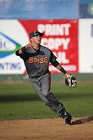 Matt McLaughlin (54) of the Boise Hawks in the field during a game against the Everett AquaSox at Everett Memorial Stadium on July 20, 2017 in Everett, Washington. Everett defeated Boise, 13-11. (Larry Goren/Four Seam Images)