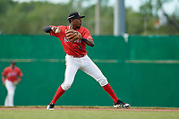 Batavia Muckdogs shortstop Demetrius Sims (3) throws to first base during a game against the West Virginia Black Bears on June 19, 2018 at Dwyer Stadium in Batavia, New York.  West Virginia defeated Batavia 7-6.  (Mike Janes/Four Seam Images)