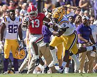 Baton Rouge, Louisiana - October 13, 2018: Tiger Stadium, the number 13 ranked Louisiana State University Tigers play the number 2 ranked University of Georgia Bulldogs.